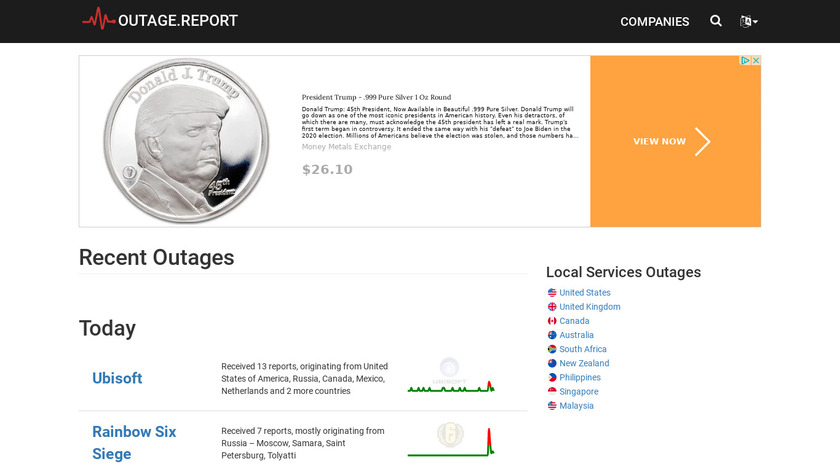 Outage.Report Landing Page