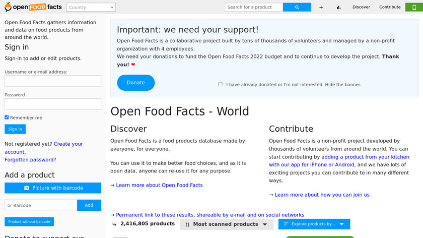Open Food Facts Landing Page