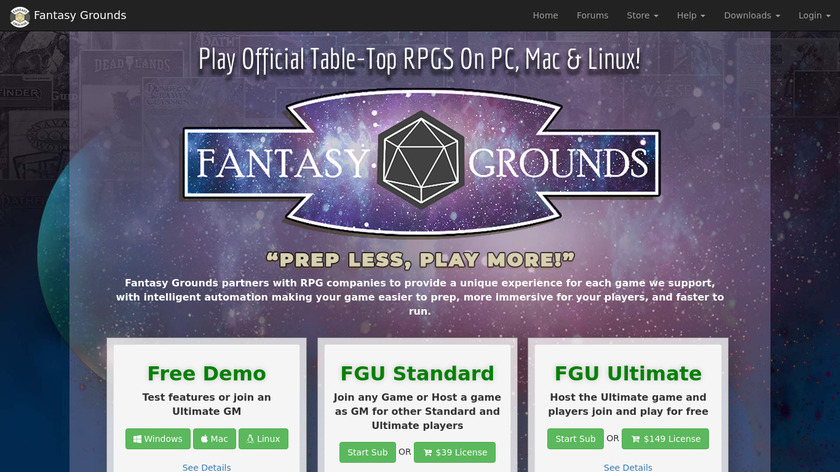 Fantasy Grounds Landing Page