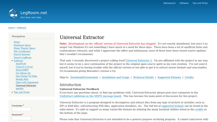 Universal Extractor Landing Page