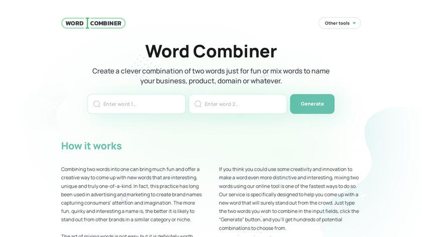 Word Combiner Landing Page