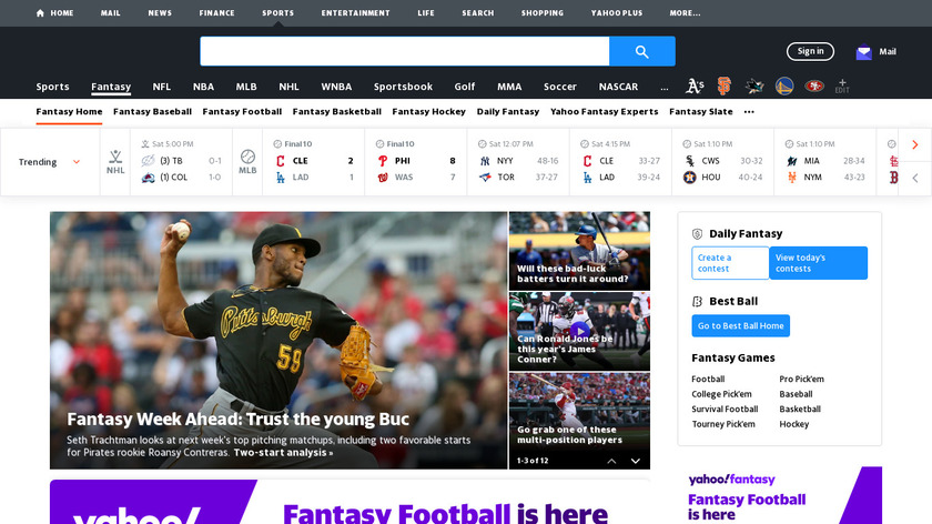 Yahoo Fantasy Sports Landing Page