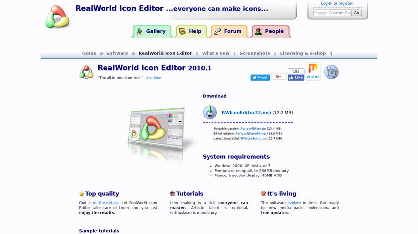RealWorld Icon Editor Landing Page