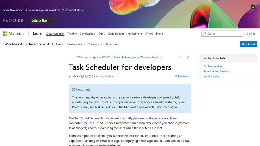 Task Scheduler Landing Page