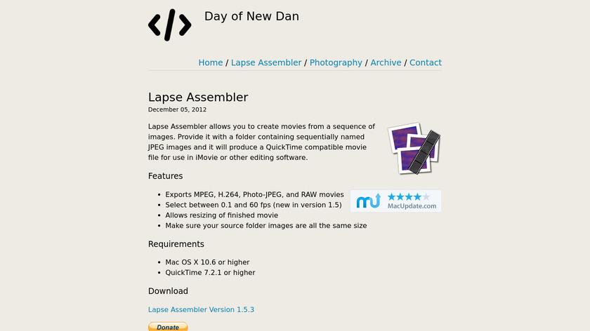 Time Lapse Assembler Landing Page