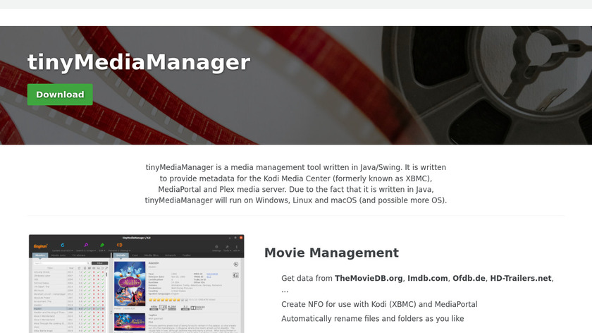 tinyMediaManager Landing Page