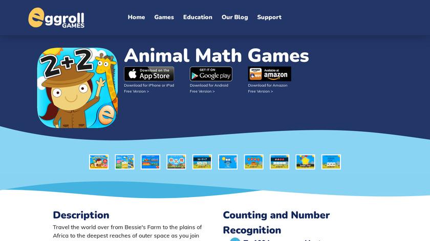Animal Math Games Landing Page
