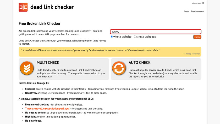 Dead Link Checker Landing Page