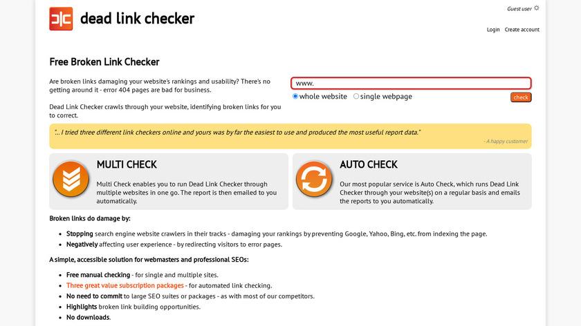 Dead Link Checker Landing Page