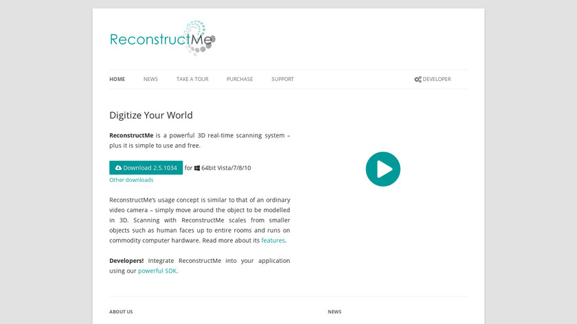 ReconstructMe Landing Page