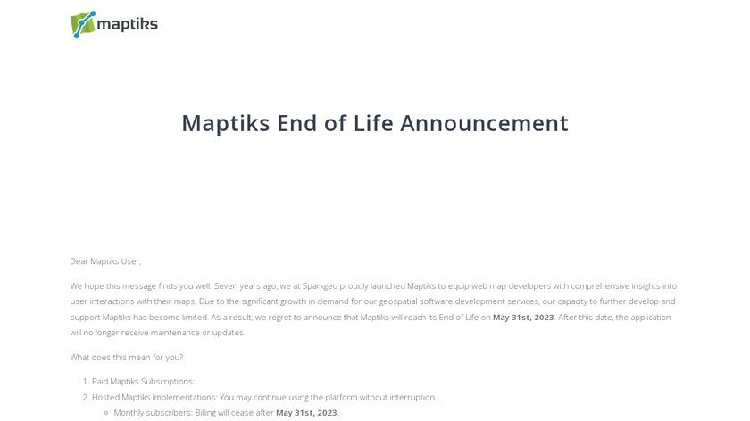 Maptiks Landing Page