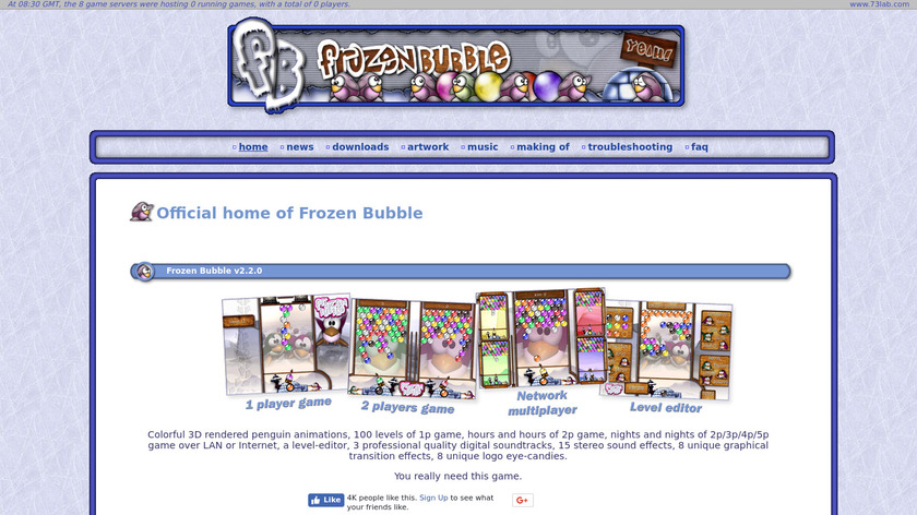 Frozen Bubble Landing Page