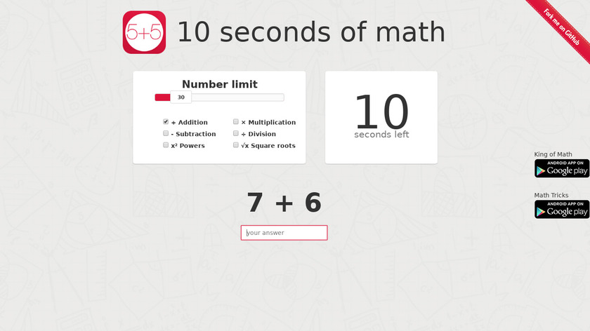10 seconds of math Landing Page