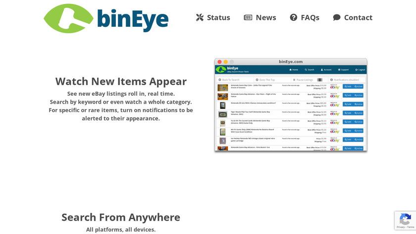 binEye Buy-It-Now Catcher Landing Page