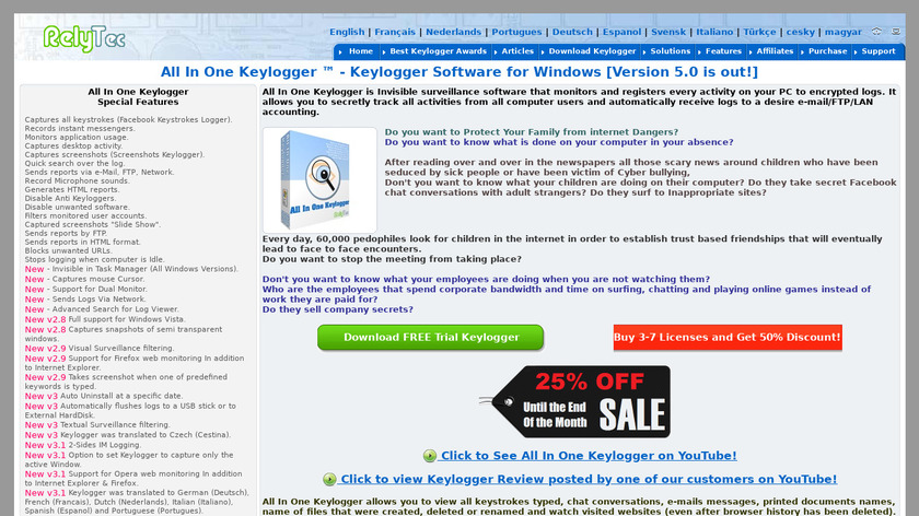 All In One Keylogger Landing Page