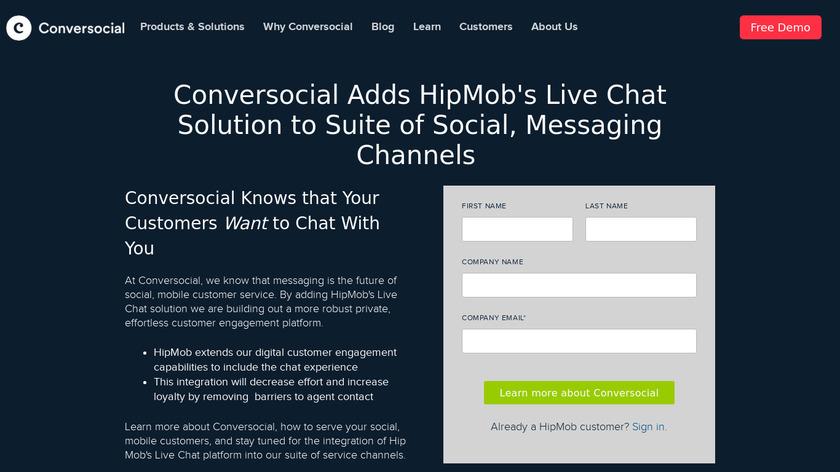 Hipmob Landing Page