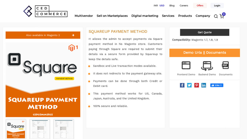 SquareUp Payment Method Landing Page