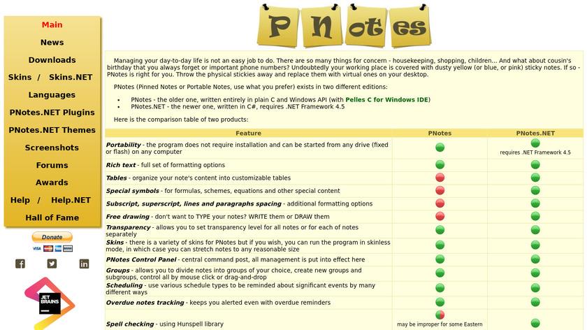 PNotes Landing Page