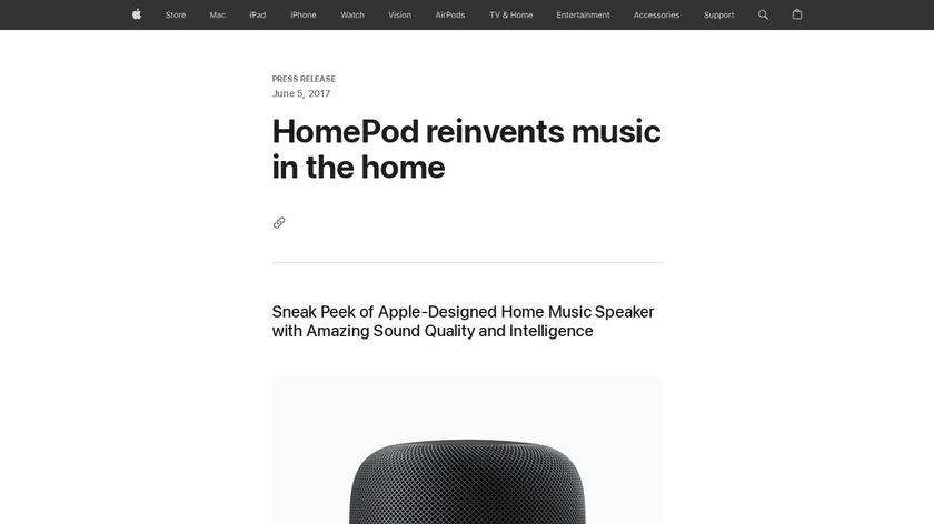 Apple HomePod Landing Page