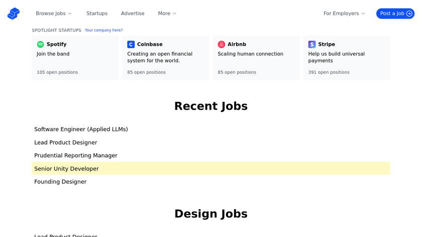 Startup Jobs Landing Page