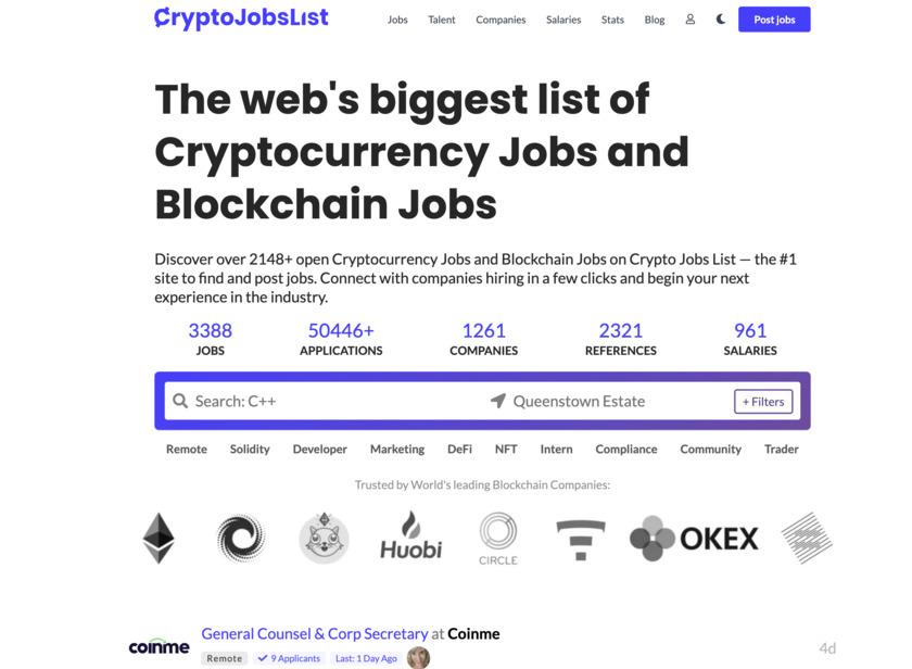 Crypto Jobs List Landing Page