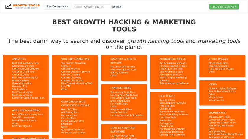 Growth Hacking Tools Landing Page