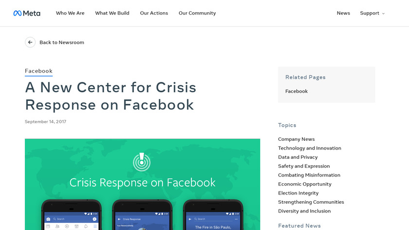 Crisis Response on Facebook Landing Page