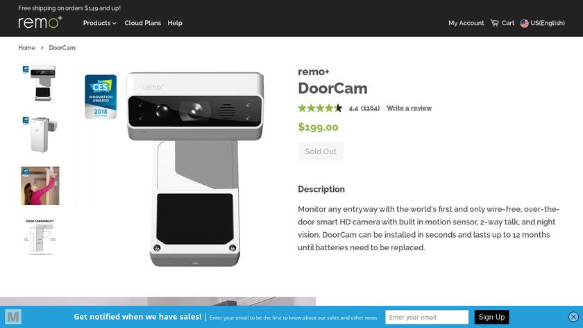 Remo+ DoorCam Landing Page