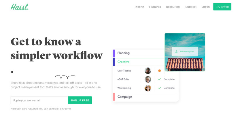 Hassl Landing Page