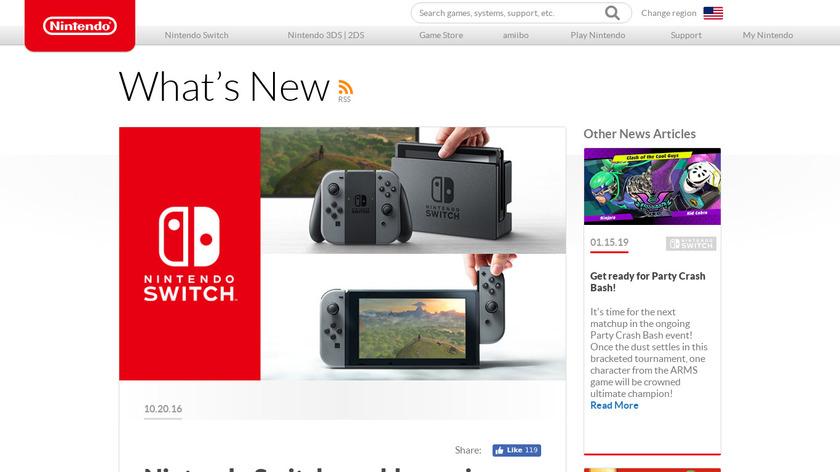 Nintendo Switch Landing Page