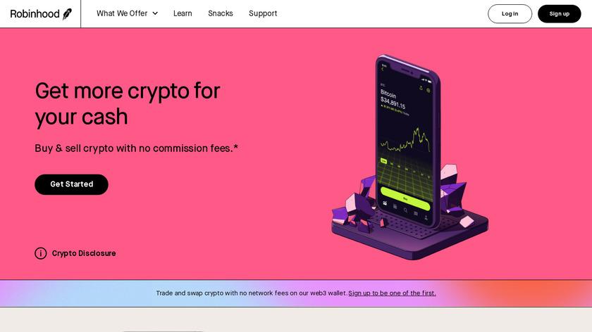 Robinhood Crypto Landing Page
