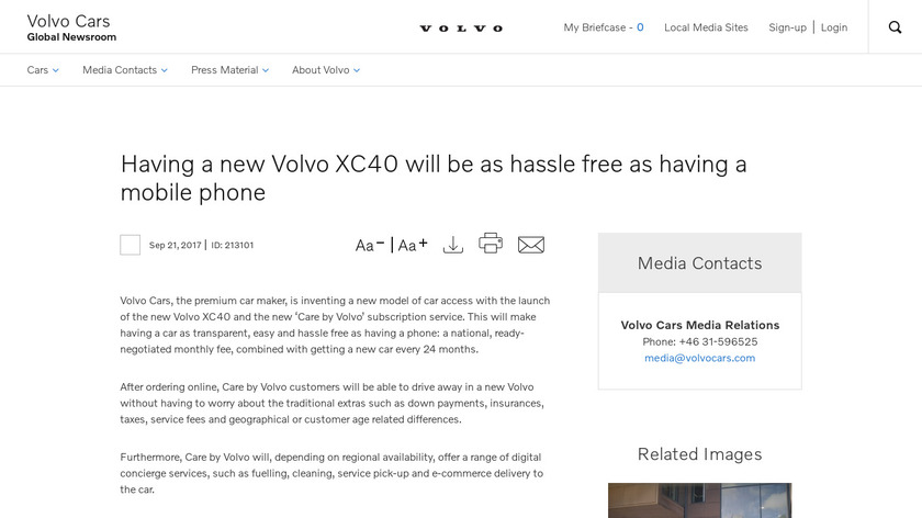 Care by Volvo Landing Page