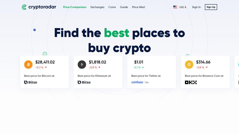Cryptoradar Landing Page