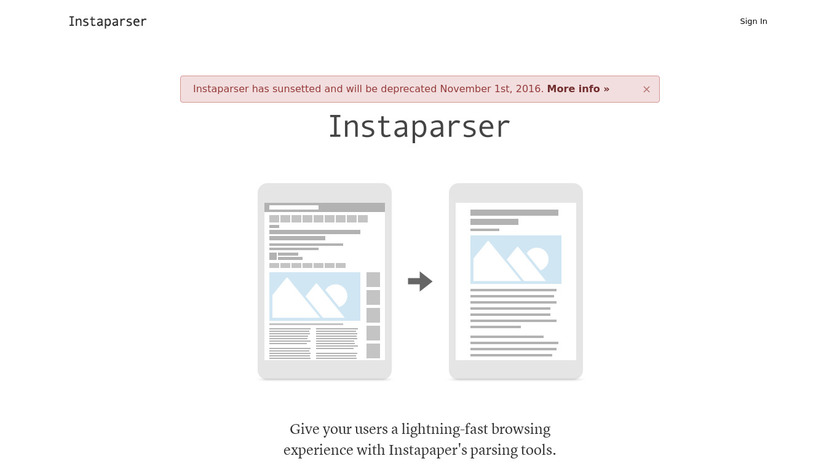 Instaparser Landing Page