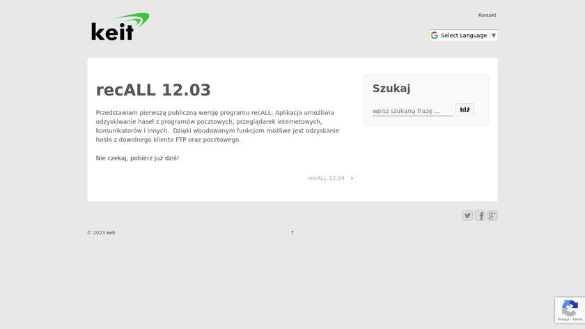 recALL Landing Page