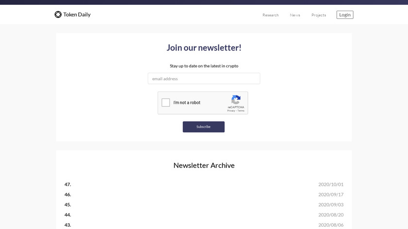 Token Daily Newsletter Landing Page