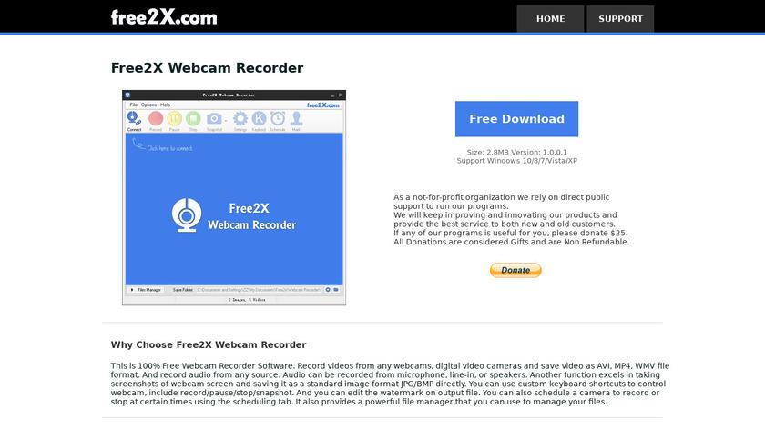 Free2x Webcam Recorder Landing Page