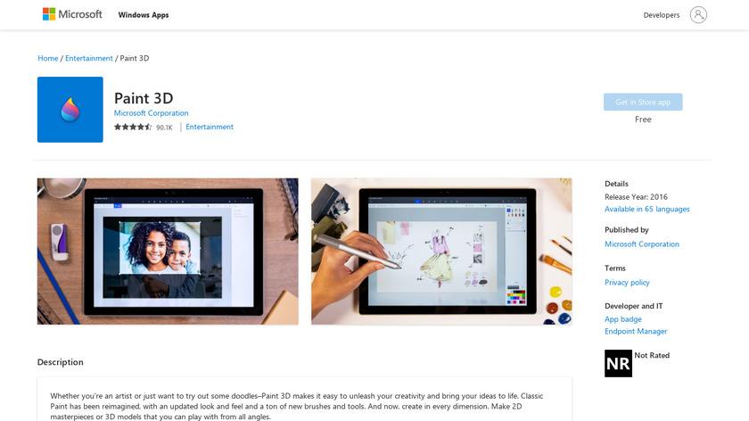 Paint 3D Landing Page
