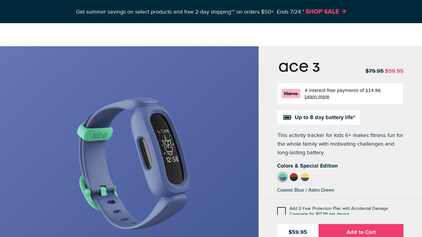 Fitbit Ace Landing Page