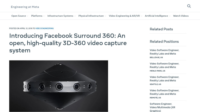 Facebook Surround 360 Landing Page