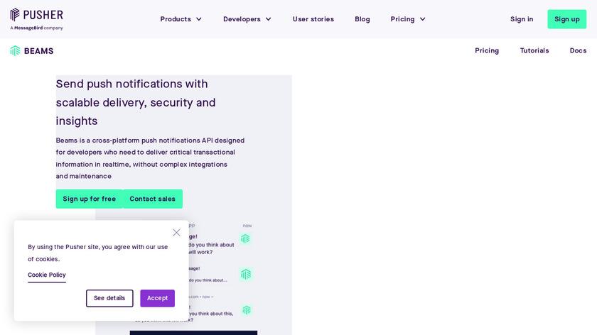 Pusher Push Notifications API Landing Page