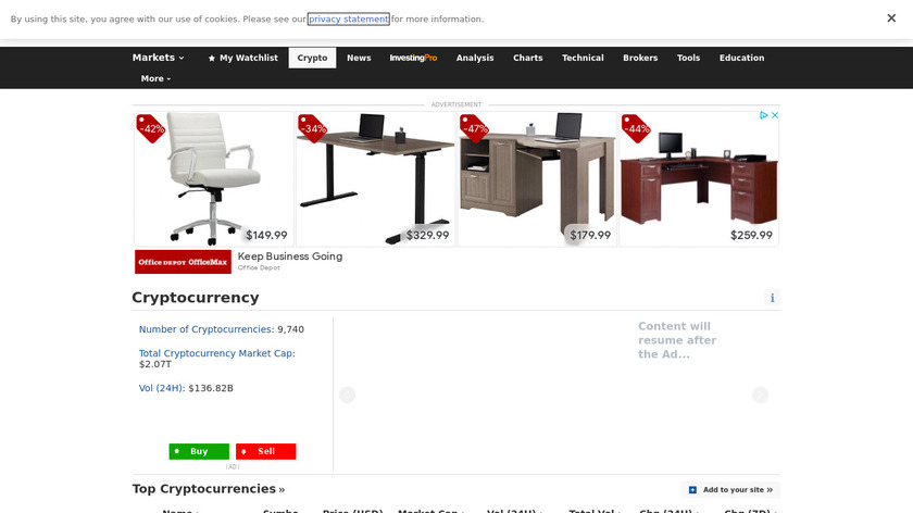 Investing.com Cryptocurrency Landing Page