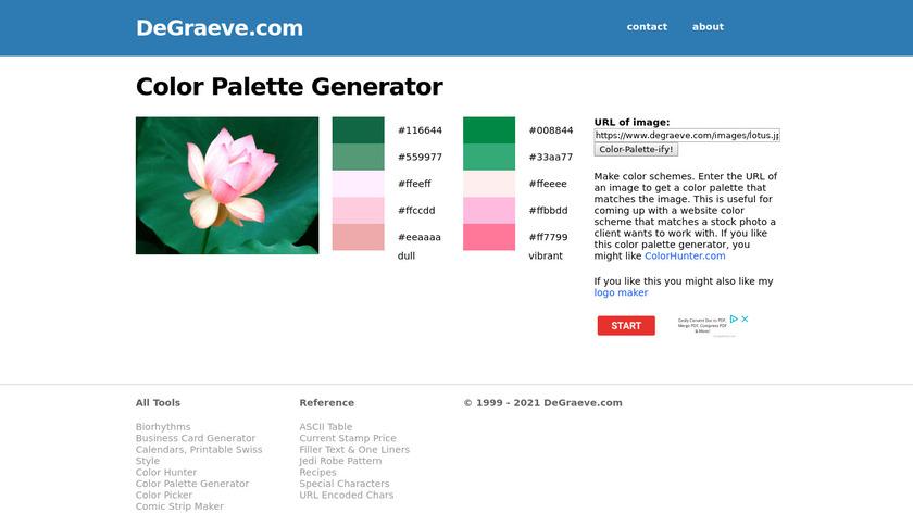 Color Palette Generator Landing Page