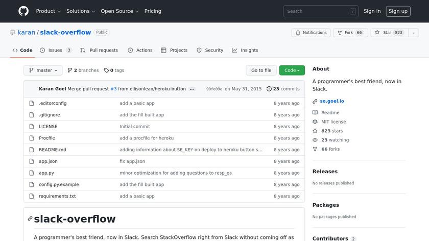 Slack Overflow Landing Page