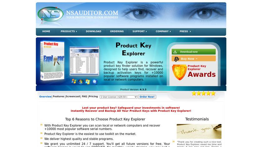 Product Key Explorer Landing Page