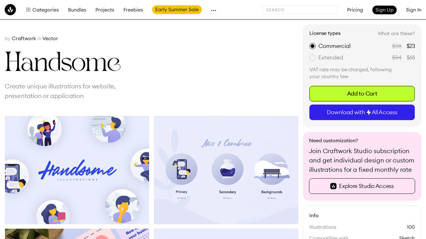 Handsome Illustrations Landing Page
