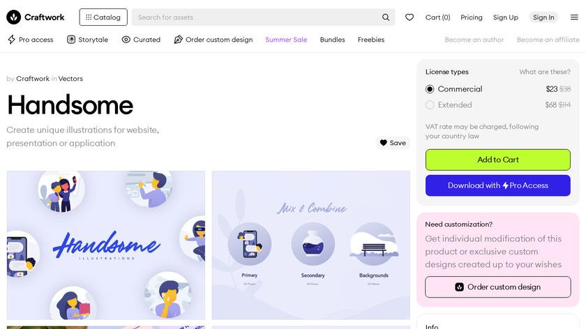 Handsome Illustrations Landing Page