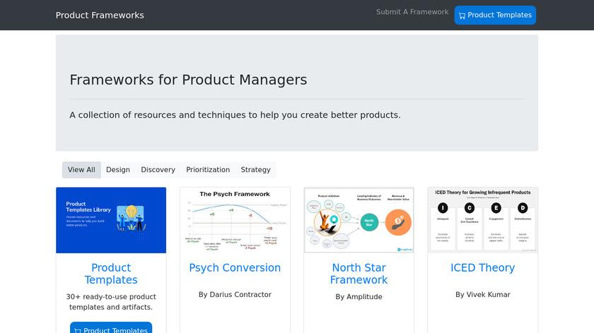 Product Frameworks Landing Page