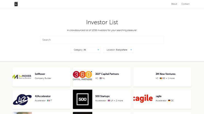 Investor List Landing Page