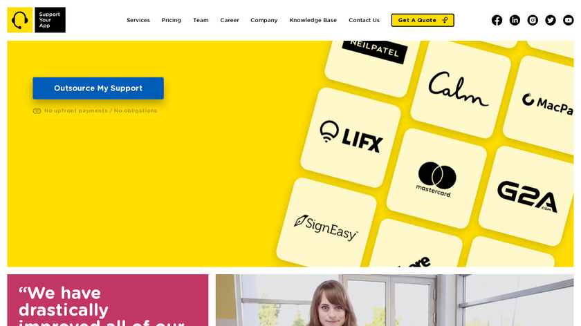 SupportYourApp Landing Page